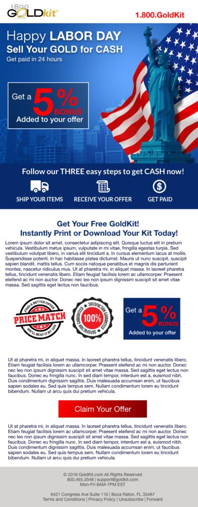 kunalamin.com GoldKit Labor Day Email Campaign